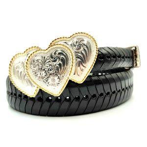 SILVER PLATE MONTANA Heart Leather Belt Black 34 M